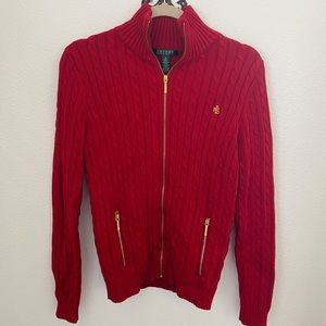 Lauren Ralph Lauren Cable Knit Zip Up Sweater